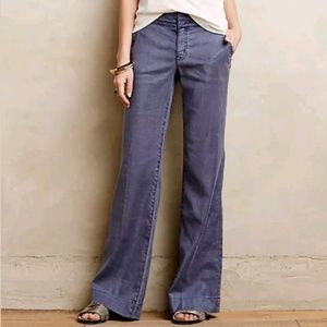 LEVEL 99 anthropologie blue  linen wide leg pants